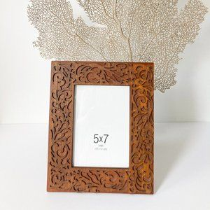 BOHO DECOR 5 x 7 CARVED WOOD PICTURE FRAME